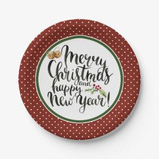 Prato De Papel Aguarela do Natal | - citações do feliz ano novo