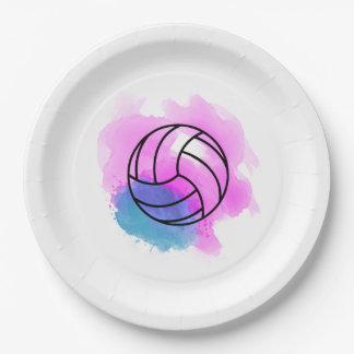 Prato De Papel Aguarela do voleibol
