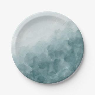 Prato De Papel Aguarela tropical do azul da cerceta