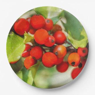 Prato De Papel Aguarela vermelha e verde colorida do azevinho do