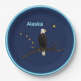 Prato De Papel Alaska Eagle e bandeira