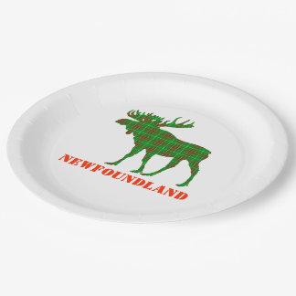 Prato De Papel Alces do Tartan de Terra Nova da placa de papel