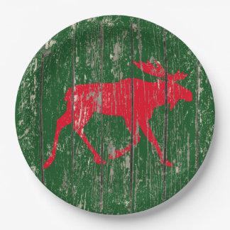 Prato De Papel Alces em sua madeira resistida cor