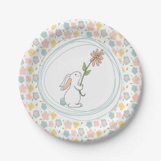 Prato De Papel Algumas placas florais do aniversário do coelho