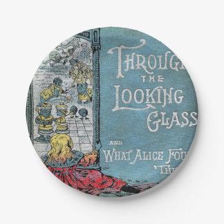 Prato De Papel Alice através do espelho