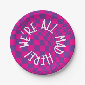 Prato De Papel Alice no país das maravilhas - placas roxas - era