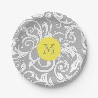Prato De Papel Amarelo das cinzas de prata de papel de parede