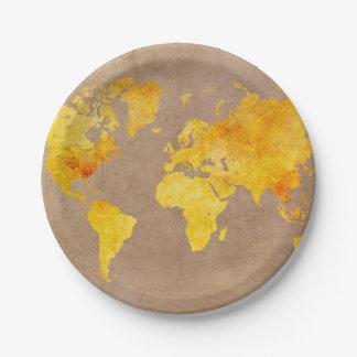 Prato De Papel amarelo do mapa do mundo