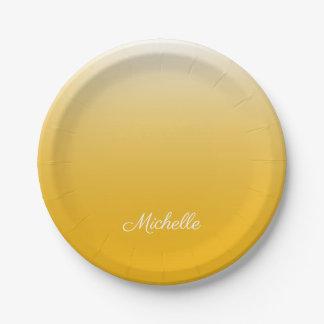 Prato De Papel Amarelo personalizado do ombre do inclinação