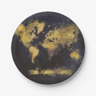 Prato De Papel amarelo preto do mapa do mundo