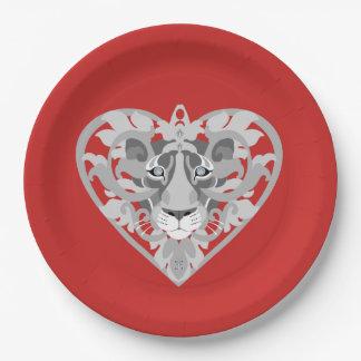 Prato De Papel Ame a placa de papel (vermelha) do Locket da leoa