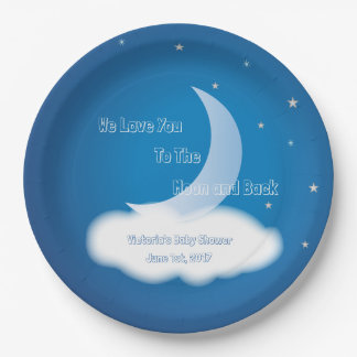 Prato De Papel Ame-o à lua e à parte traseira - BOY/GIRL azul