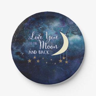 Prato De Papel Ame-o às placas de papel da lua & da parte