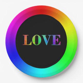 Prato De Papel Amor, placas de papel do partido do arco-íris de