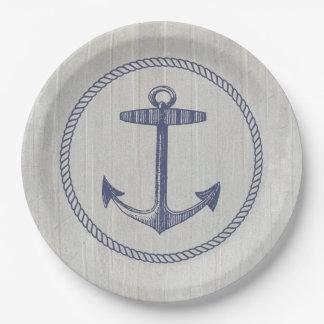 Prato De Papel Âncora náutica e madeira resistida
