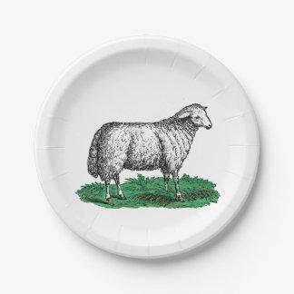 Prato De Papel Animais de fazenda da ovelha dos carneiros do