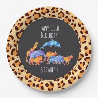 Prato De Papel Animais selvagens no aniversário exótico do