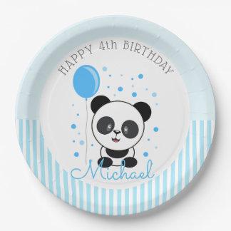 Prato De Papel Aniversário azul da panda de Cutie