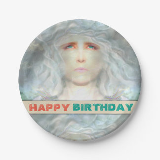 Prato De Papel Aniversário branco do renascimento