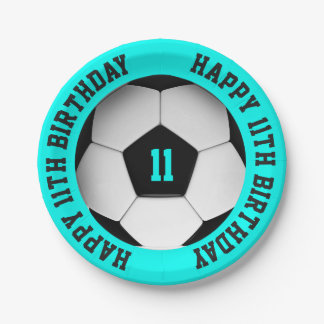 Prato De Papel Aniversário da bola de futebol
