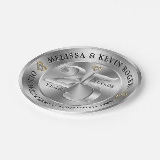 Prato De Papel Aniversário de casamento da prata metálica 25o