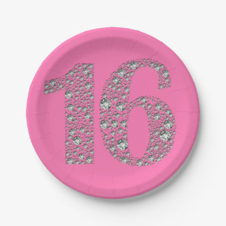 Prato De Papel Aniversário dezesseis de Bling 16 do diamante 16o