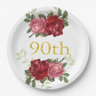 Prato De Papel aniversário do 90, rosas elegantes, vermelhos do