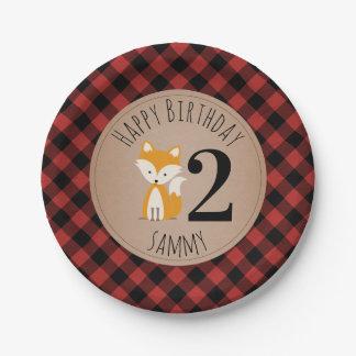 Prato De Papel Aniversário do bebê da xadrez do lenhador do Fox