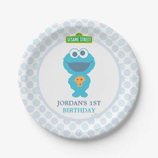 Prato De Papel Aniversário do bebê do monstro do biscoito