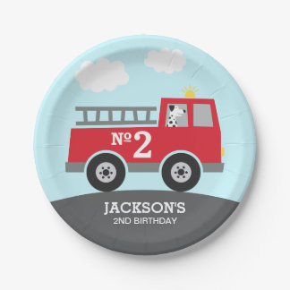 Prato De Papel Aniversário do carro de bombeiros