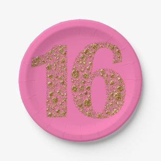 Prato De Papel Aniversário do encanto 16 dezesseis dourados 16o