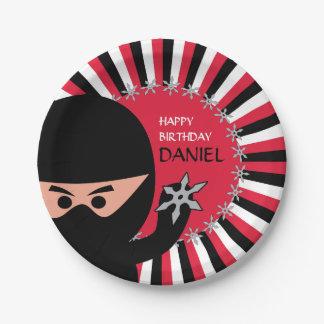 Prato De Papel Aniversário do guerreiro de Ninja placa de papel