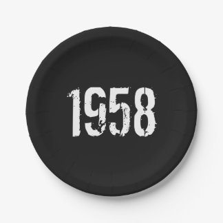 Prato De Papel Aniversário do nascer em 1958