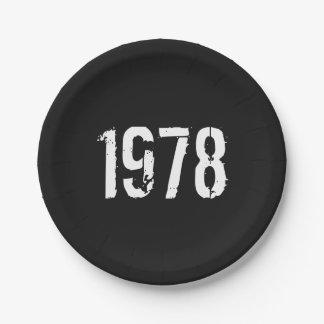 Prato De Papel Aniversário do nascer em 1978
