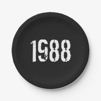Prato De Papel Aniversário do nascer em 1988
