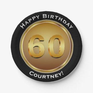 Prato De Papel Aniversário do ouro Sixtieth do falso 60th com