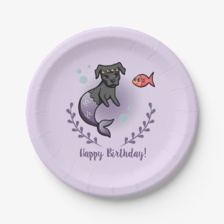 Prato De Papel Aniversário do pitbull 2 da sereia