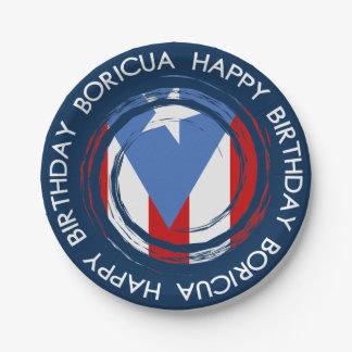 Prato De Papel Aniversário do tema de Boricua da bandeira de
