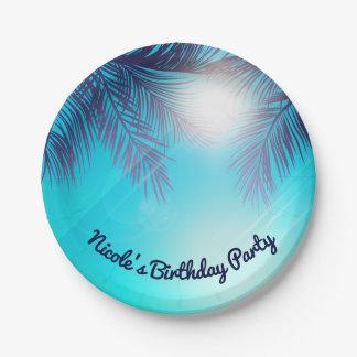 Prato De Papel Aniversário ensolarado do verão das palmeiras do