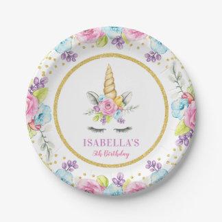 Prato De Papel Aniversário floral do unicórnio da aguarela