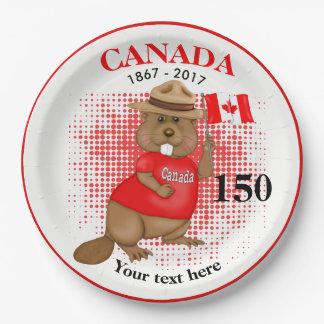 Prato De Papel Aniversário orgulhosa canadense do castor 150