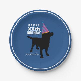Prato De Papel Aniversário preto engraçado do costume do cão do