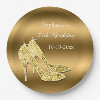 Prato De Papel Aniversário Sparkly dos estiletes do ouro