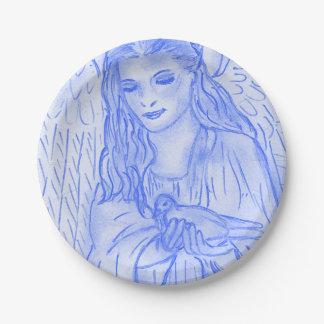 Prato De Papel Anjo calmo no azul