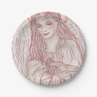 Prato De Papel Anjo calmo no matiz vermelho