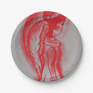 Prato De Papel Anjo lateral no vermelho