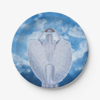 Prato De Papel Anjo nas nuvens