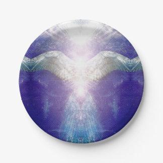 Prato De Papel Anjo violeta de prata