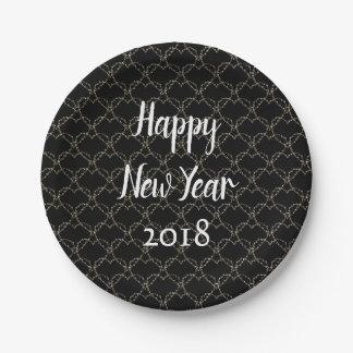 Prato De Papel Ano novo preto e branco moderno