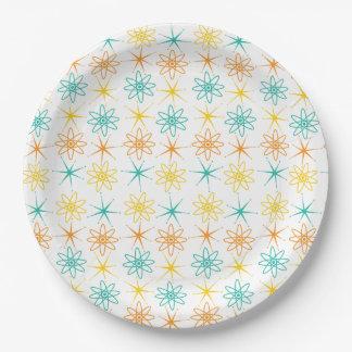 Prato De Papel Anos 50 astucioso - átomos e placa de papel das
